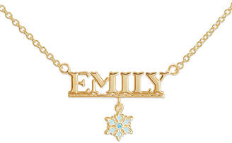 Disney Frozen Personalized 14K Yellow Gold Over Sterling Silver Snowflake Name Necklace