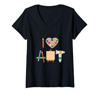 Womens I Love Art Fun Colorful Future Artist and Crafts Gift V-Neck T-Shirt