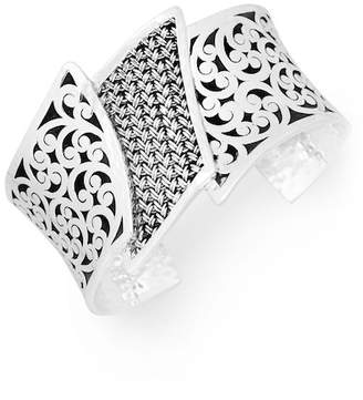 Lois Hill Sterling Silver Stacked Filigree Cuff Bracelet