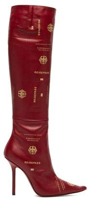 Vetements Passport Print Leather Knee High Boots - Womens - Burgundy