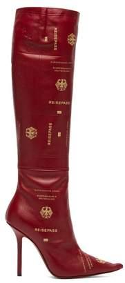 Vetements - Passport Print Leather Knee High Boots - Womens - Burgundy
