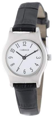Timex Carriage Women's C3C364 Silver-Tone Round Case Dial Black Croco Leather Strap Watch