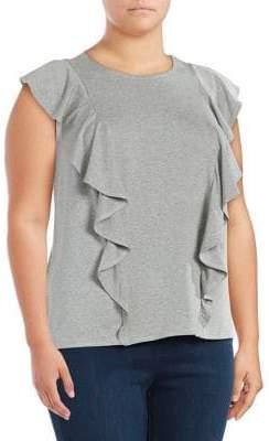 Rachel Roy Plus Cap Sleeve Ruffle Top
