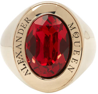 Alexander McQueen Gold and Red Logo Ring