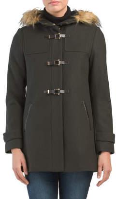 Wool Jacket With Faux Fur Hood