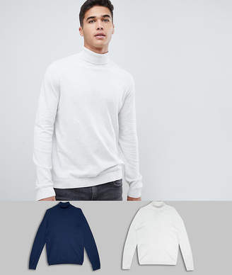 Asos DESIGN roll neck sweater in navy / white 2 pack save