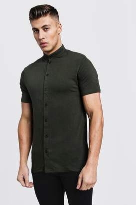 boohoo Muscle Fit Short Sleeve Grandad Jersey Shirt