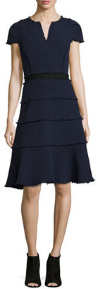 Rebecca Taylor Tweed Short-Sleeve A-line Dress, Navy/Black $495 thestylecure.com