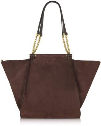 Max Mara Chain Large Suede Shoulder Bag W/chain Straps