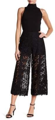 Nicole Miller Sheer Floral Lace Culotte Pants