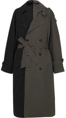 Vetements Two-tone Belted Layered Canvas Trench Coat - Black