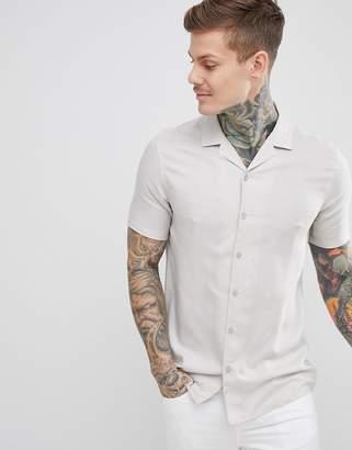 Asos DESIGN regular fit viscose shirt with revere collar in gray