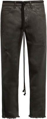 OFF-WHITE Frayed mid-rise cropped jeans $459 thestylecure.com