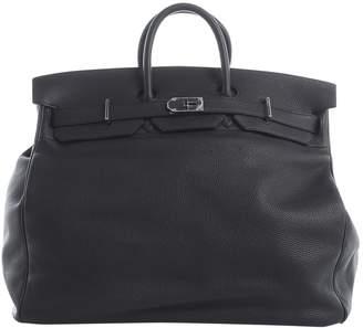 Hermes Haut a Courroies Black Leather Travel Bag