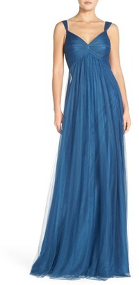 Women's Monique Lhuillier Empire Waist Tulle Twist Front Gown $290 thestylecure.com