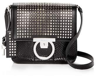 Salvatore Ferragamo Studded Snake Embossed Patent Leather Shoulder Bag