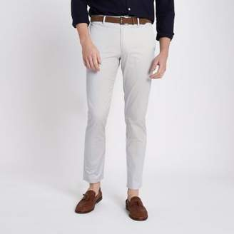 River Island Light grey belted slim fit chino pants