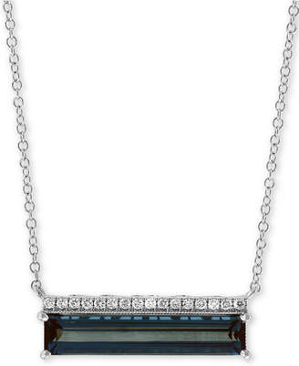 "Effy London Blue Topaz (3 ct. t.w.) & Diamond Accent 18"" Pendant Necklace in 14k White Gold"