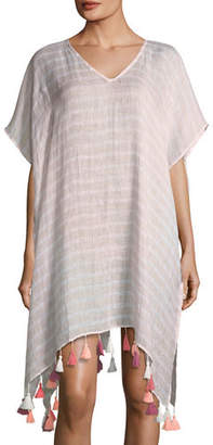 Seafolly V-Neck Striped Linen Kaftan with Tassels, One Size