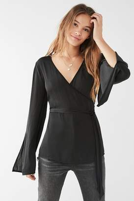 Urban Outfitters Slit Long Sleeve Wrap Blouse