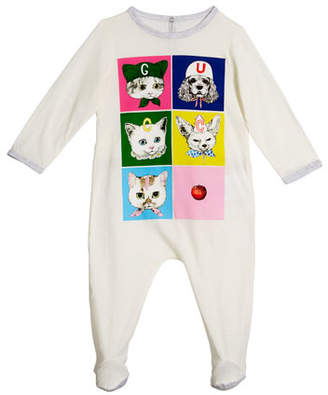 Gucci Pets Print Long-Sleeve Footie Pajamas, Size 0-9 Months