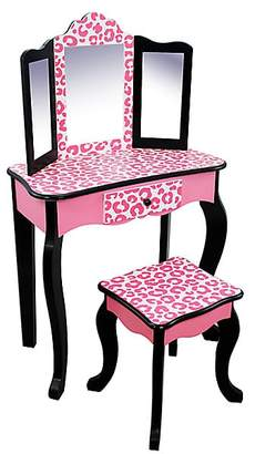 Teamson Fashion Prints Leopard Vanity & Stool Set