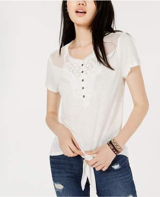 American Rag Juniors' Crochet-Trimmed Tie-Front T-Shirt