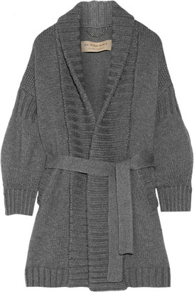 Burberry - Belted Wool And Cashmere-blend Cardigan - Anthracite $1,595 thestylecure.com