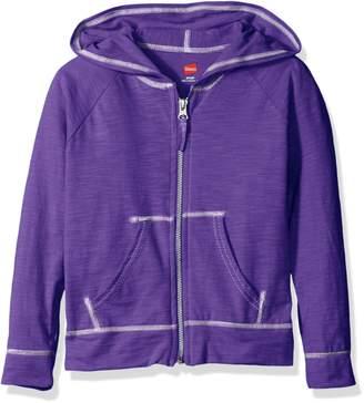 Hanes Big Girls' Slub Jersey Full Zip Jacket
