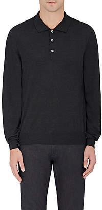 Brioni Men's Wool-Blend Long-Sleeve Polo Shirt - Dark Gray