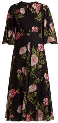 Giambattista Valli Rose Print Silk Gown - Womens - Black Multi