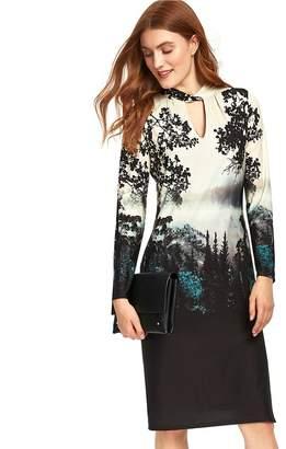 Wallis Black Printed Jersey Midi Dress