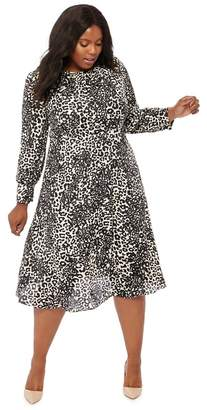 The Collection - Natural Leopard Print Midi Plus Size Dress