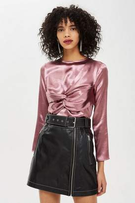 Topshop Twist Satin Top