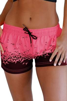 Trunks Gludear Women Print Wide Waistband Swim Shorts Boyshort Bottom,Rosy,S
