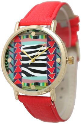 OLIVIA PRATT Olivia Pratt Womens Multi-Color Pattern With Gold-Tone Studs Dial Red Leather Watch 13628Red