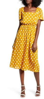 ENGLISH FACTORY Square Neck Midi Dress