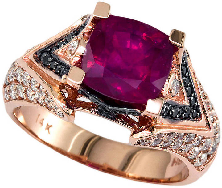 EFFY COLLECTION 14 Kt. Rose Gold, Multicolor Stones and Diamond Ring, .75CTW