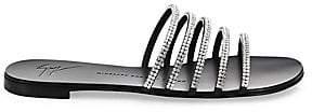 Giuseppe Zanotti Women's Strappy Crystal-Embellished Leather Slides Sandals