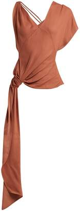 Jacquemus Haut Passo asymmetric drape blouse