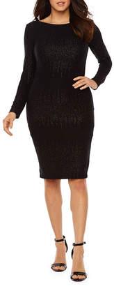 PREMIER AMOUR Premier Amour Long Sleeve Glitter Knit Sheath Dress
