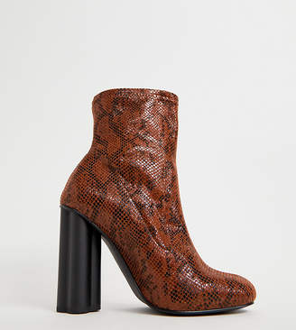Eliza J Asos Design ASOS DESIGN Wide Fit heeled sock boots in snake print