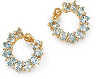Kiki McDonough 18K Yellow Gold Juno Blue Topaz & Diamond Sunflower Earrings