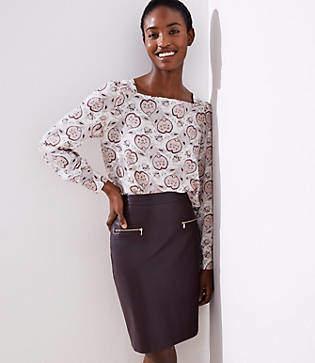 LOFT Petite Faux Leather Zip Pocket Pencil Skirt