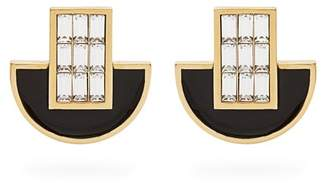Cercle Amédée Cercle Amedee - Night Owl Crystal And Enamel Embellished Earrings - Womens - Black