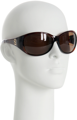 Fendi blonde havana rounded wrap sunglasses