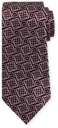 Ermenegildo Zegna Basketweave Geometric Tie, Wine $195 thestylecure.com