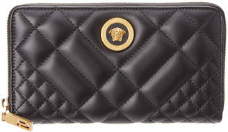 Versace Medusa Tribute Quilted Leather Zip Around Wallet