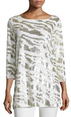 Joan Vass Sequined Animal Tunic, Ivory, Petite $248 thestylecure.com
