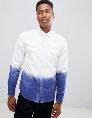 Asos DESIGN regular fit western shirt with dip dye detail in white